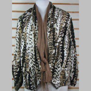 Open style jacket w / scarf Earthy lined EUC 24W